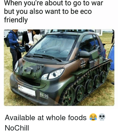 eco friendly: When you're about to go to war  but you also want to be eco  friendly  」レ  84 0 Available at whole foods 😂💀 NoChill