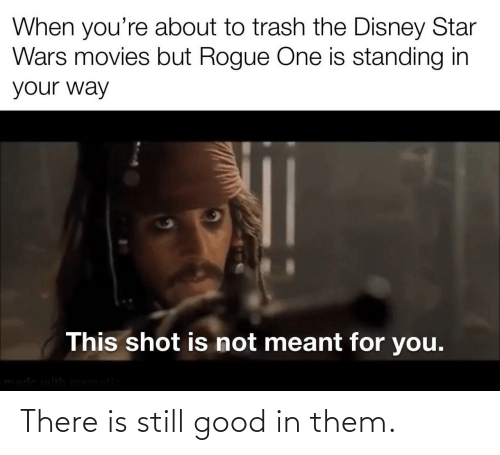 Standing: When you're about to trash the Disney Star  Wars movies but Rogue One is standing in  your way  This shot is not meant for you.  made with mematic There is still good in them.