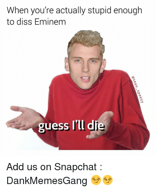 Diss, Eminem, and Memes: When you're actually stupid enough  to diss Eminem  guess I'll d  ie Add us on Snapchat : DankMemesGang 😏😏