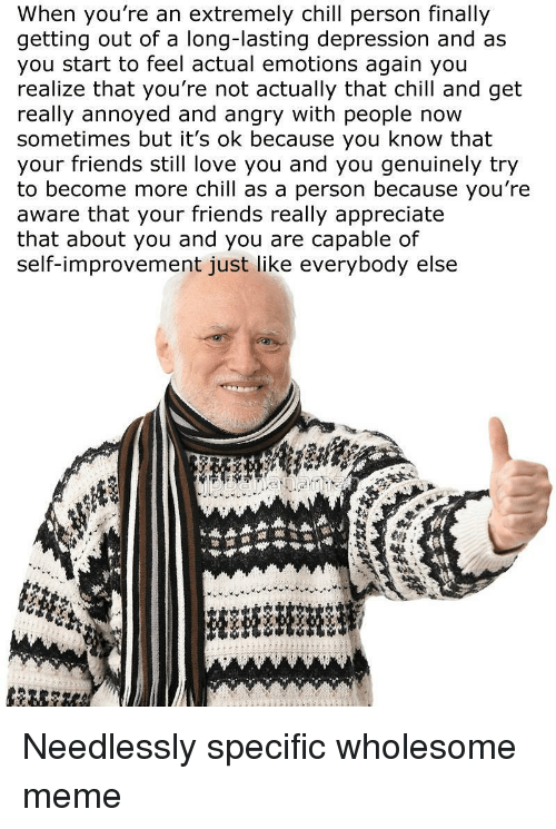 Long Lasting: When you're an extremely chill person finally  getting out of a long-lasting depression and as  you start to feel actual emotions again you  realize that you're not actually that chill and get  really annoyed and angry with people now  sometimes but it's ok because you know that  your friends still love you and you genuinely try  to become more chill as a person because you're  aware that your friends really appreciate  that about you and you are capable of  self-improvement just like everybody else <p>Needlessly specific wholesome meme</p>