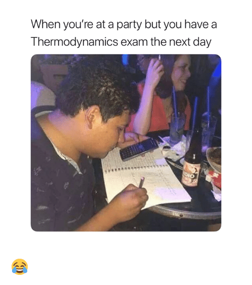 Party, Thermodynamics, and Dio: When you're at a party but you have  Thermodynamics exam the next day  DIO 😂
