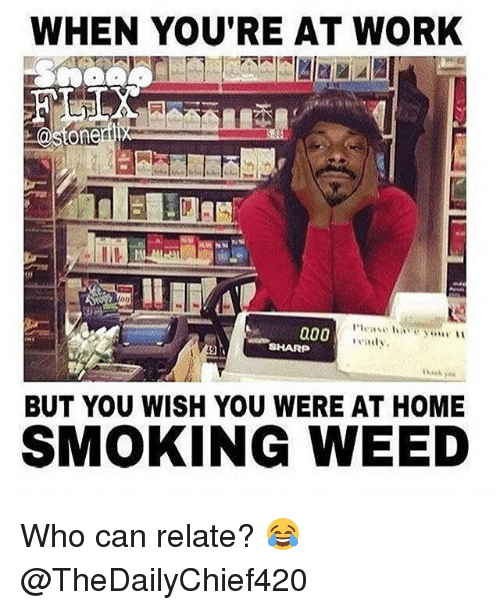 Memes, Smoking, and Weed: WHEN YOU'RE AT WORK  @Sion  a00  endy.  SHARP  BUT YOU WISH YOU WERE AT HOME  SMOKING WEED Who can relate? 😂 @TheDailyChief420