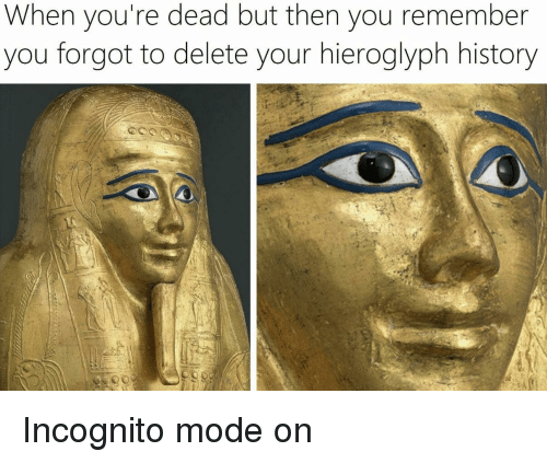 youre dead: When you're dead but then you remember  you forgot to delete your hieroglyph history Incognito mode on