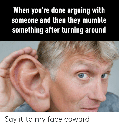 Dank, Say It, and 🤖: When you're done arguing with  someone and then they mumble  something after turning around Say it to my face coward