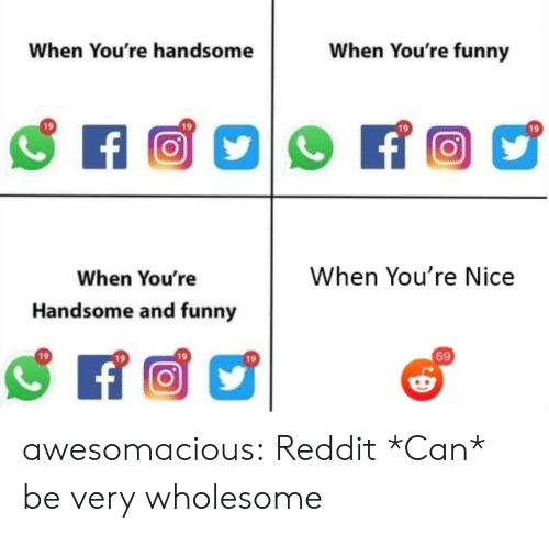 Funny, Reddit, and Tumblr: When You're funny  When You're handsome  f  When You're Nice  When You're  Handsome and funny  69 awesomacious:  Reddit *Can* be very wholesome