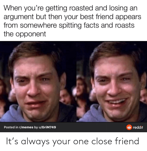 Spitting: When you're getting roasted and losing an  argument but then your best friend appears  from somewhere spitting facts and roasts  the opponent  Posted in r/memes by u/GriM749  reddit It's always your one close friend