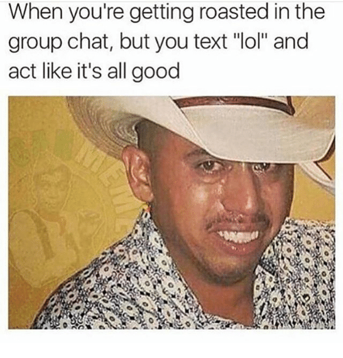"""When Youre Getting Roasted: When you're getting roasted in the  group chat, but you text """"lol"""" and  act like it's all good"""