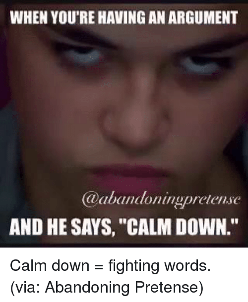 "pretense: WHEN YOU'RE HAVING AN ARGUMENT  @abandoningpretensc  AND HE SAYS, ""CALM DOWN."" Calm down = fighting words. (via: Abandoning Pretense)"