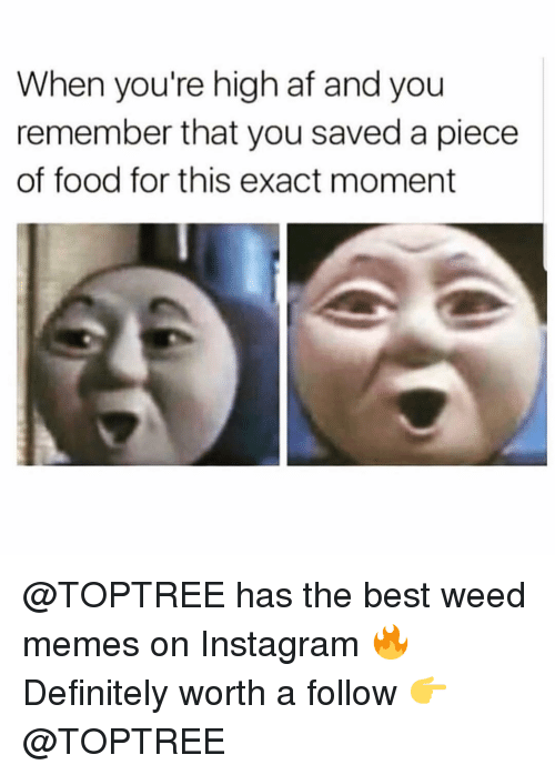 Weed Memes: When you're high af and you  remember that you saved a piece  of food for this exact moment @TOPTREE has the best weed memes on Instagram 🔥 Definitely worth a follow 👉 @TOPTREE