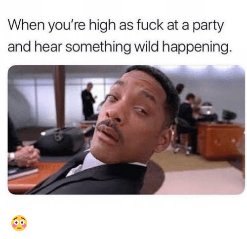 high as fuck: When you're high as fuck at a party  and hear something wild happening 😳