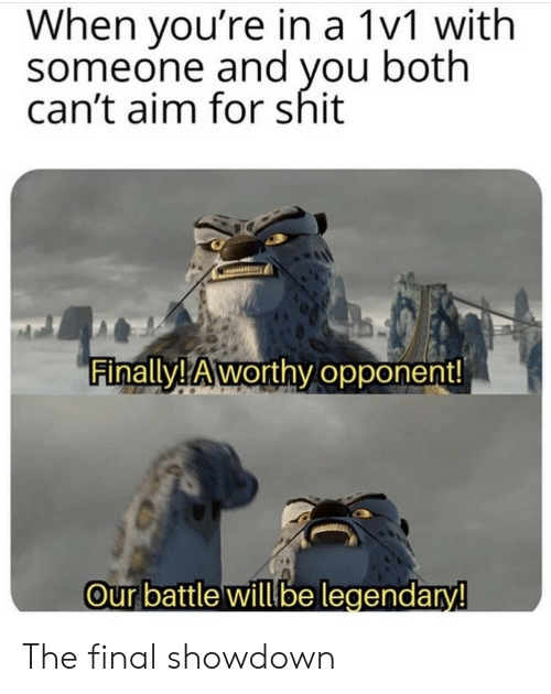 aim: When you're in a 1v1 with  someone and you both  can't aim for shit  Finally! Aworthy opponent!  Our battle willbe legendary! The final showdown