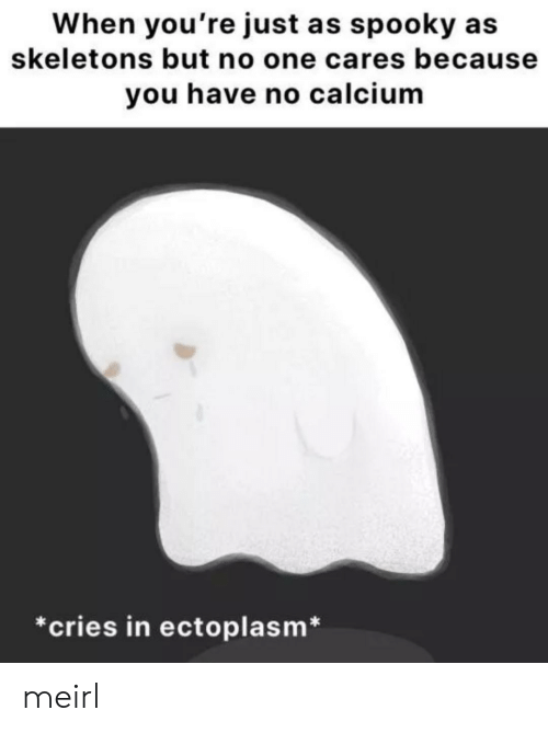 Spooky, MeIRL, and One: When you're just as spooky  skeletons but no one cares because  you have no calcium  *cries in ectoplasm* meirl