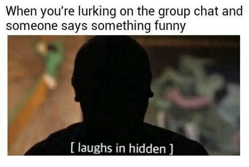 Funny Laughs: When you're lurking on the group chat and  someone says something funny  [ laughs in hidden ]