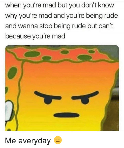 Being Rude: when you're mad but you don't know  why you're mad and you're being rude  and wanna stop being rude but can't  because you're mad Me everyday 😑