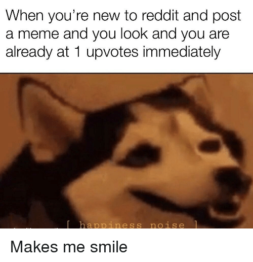 Meme, Reddit, and Smile: When you're new to reddit and post  a meme and you look and you are  already at 1 upvotes immediately  happiness noise Makes me smile