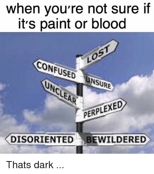 disoriented: when you're not sure if  it's paint or blood  CONFUSED  PERPLEXED  DISORIENTED BEWILDERED Thats dark ...