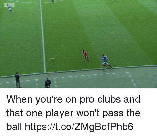 Passe: When you're on pro clubs and that one player won't pass the ball https://t.co/ZMgBqfPhb6