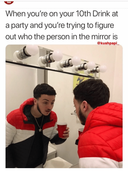Party, Mirror, and Who: When you're on your 10th Drink at  a party and you're trying to figure  out who the person in the mirror is  @kushpapi