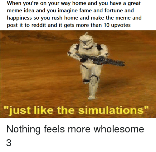 """Meme, Reddit, and Home: When you're on your way home and you have a great  meme idea and you imagine fame and fortune and  happiness so you rush home and make the meme and  post it to reddit and it gets more than 10 upvotes  """"  just like the simulations  """" Nothing feels more wholesome 3"""