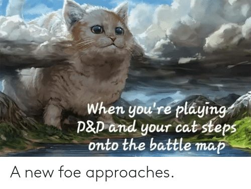 Onto: When you're pláying  P&D and your cat steps  onto the battle map A new foe approaches.