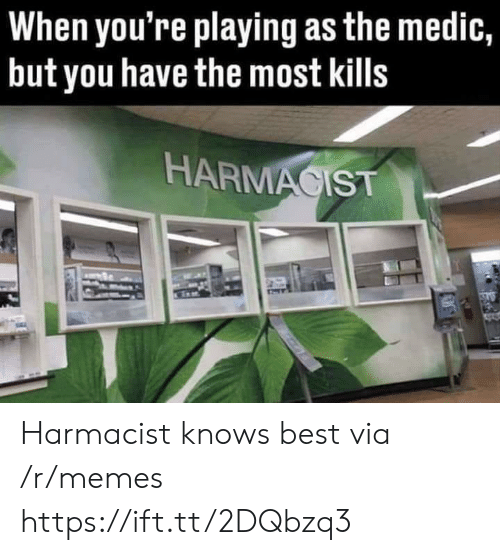 Memes, Best, and Via: When you're playing as the medic,  but you have the most kills  HARMACIST Harmacist knows best via /r/memes https://ift.tt/2DQbzq3