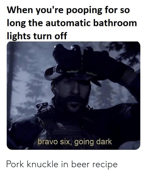 Beer, Bravo, and Dark: When you're pooping for so  long the automatic bathroom  lights turn off  bravo six, going dark Pork knuckle in beerrecipe