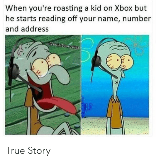 your name: When you're roasting a kid on Xbox but  he starts reading off your name, number  and address  IG PolarSaurusRex True Story