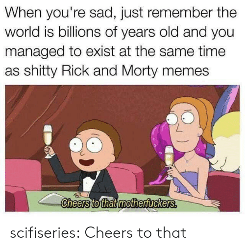 cheers: When you're sad, just remember the  world is billions of years old and you  managed to exist at the same time  as shitty Rick and Morty memes  Cheers to that mothertuckers. scifiseries:  Cheers to that