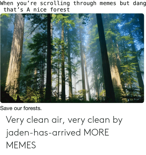 Jaden: When you're scrolling through memes but dang  that's A nice forest  Save our forests. Very clean air, very clean by jaden-has-arrived MORE MEMES