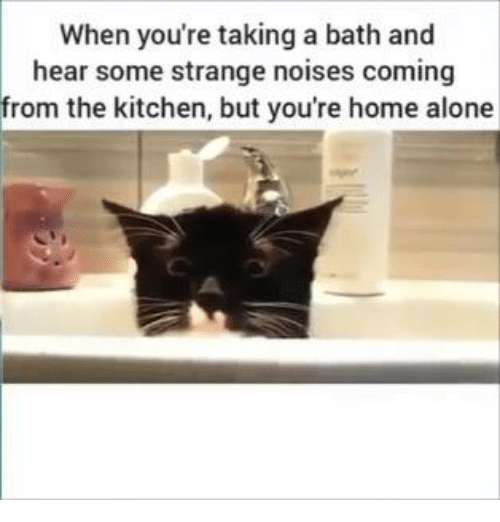takes a bath: When you're taking a bath and  hear some strange noises coming  from the kitchen, but you're home alone