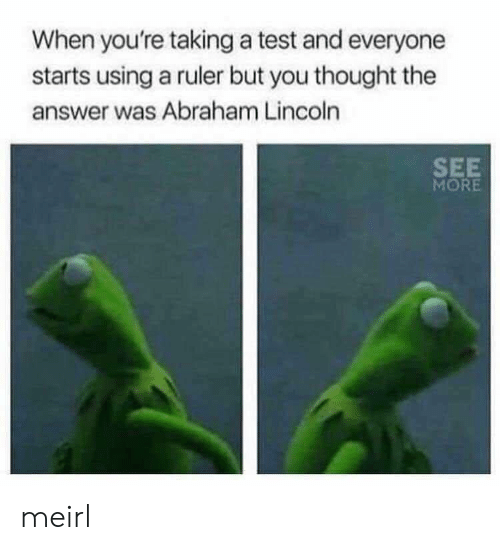 Abraham Lincoln: When you're taking a test and everyone  starts using a ruler but you thought the  answer was Abraham Lincoln  SEE  MORE meirl