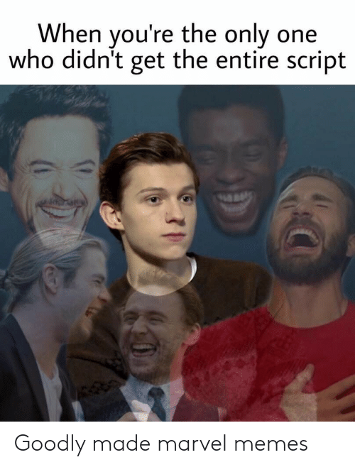 Marvel Memes: When you're the only one  who didn't get the entire script Goodly made marvel memes