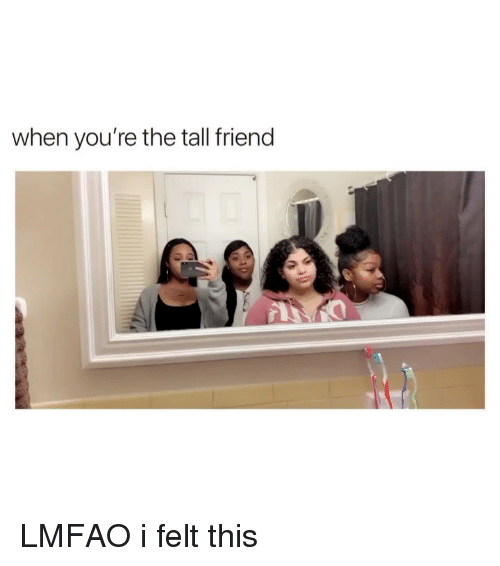 Girl Memes, Lmfao, and Friend: when you're the tall friend LMFAO i felt this