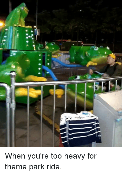 theme park: When you're too heavy for theme park ride.