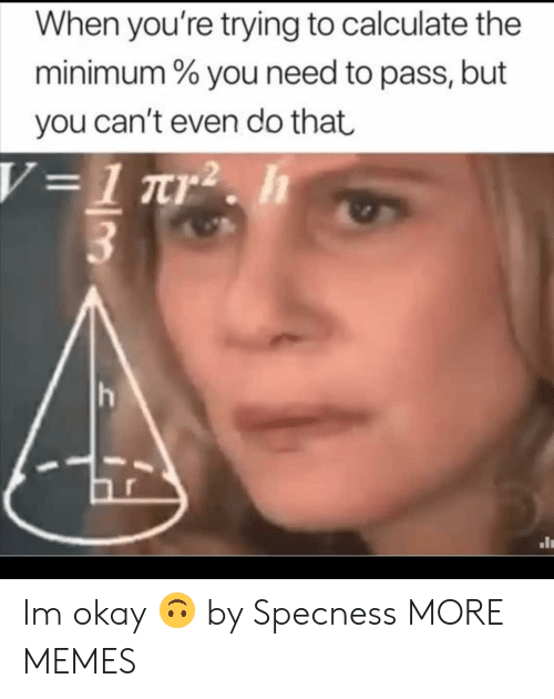 Calculate: When you're trying to calculate the  minimum % you need to pass, but  you can't even do that Im okay 🙃 by Specness MORE MEMES