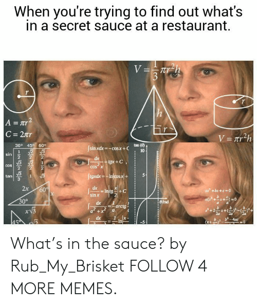 Rub My: When you're trying to find out what's  in a secret sauce at a restaurant.  V=Trh  3  A = Tr  C = 2tr  V=Tr2h  30° 45 60°  tan (8)  sin xdx=-cosx+C  N2 3  10  sin  dx  gx+C  2  COS X  COS  figxdx-Injcosx+  1  tan  2x  dx  60%  Intg  sin x  ax +bx+c 0  30°  Birad  dx  arctg  a+x  dx  b-4ac  45  In  11  wNN What's in the sauce? by Rub_My_Brisket FOLLOW 4 MORE MEMES.