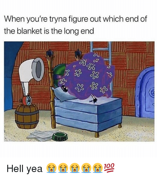 Memes, Hell, and 🤖: When you're tryna figure out which end df  the blanket is the long end Hell yea 😭😭😭😭😭💯