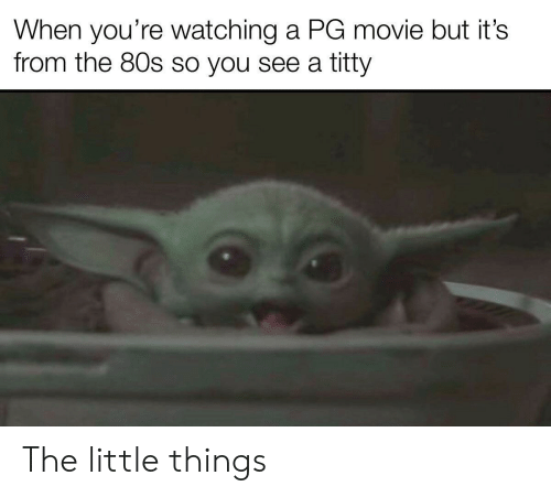 little things: When you're watching a PG movie but it's  from the 80s so you see a titty The little things