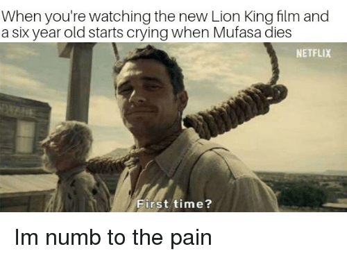Crying, Netflix, and Mufasa: When you're watching the new Lion King film and  a six year old starts crying when Mufasa dies  NETFLIX  First time? Im numb to the pain