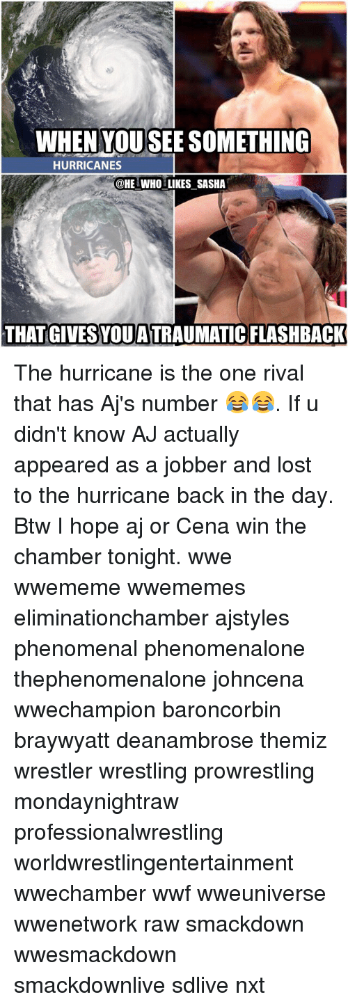 Hurrican: WHEN YOUSEE SOMETHING  HURRICANES  @HE WHO LIKES SASHA  THAT GIVES YOUATRAUMATIC FLASHBACK The hurricane is the one rival that has Aj's number 😂😂. If u didn't know AJ actually appeared as a jobber and lost to the hurricane back in the day. Btw I hope aj or Cena win the chamber tonight. wwe wwememe wwememes eliminationchamber ajstyles phenomenal phenomenalone thephenomenalone johncena wwechampion baroncorbin braywyatt deanambrose themiz wrestler wrestling prowrestling mondaynightraw professionalwrestling worldwrestlingentertainment wwechamber wwf wweuniverse wwenetwork raw smackdown wwesmackdown smackdownlive sdlive nxt