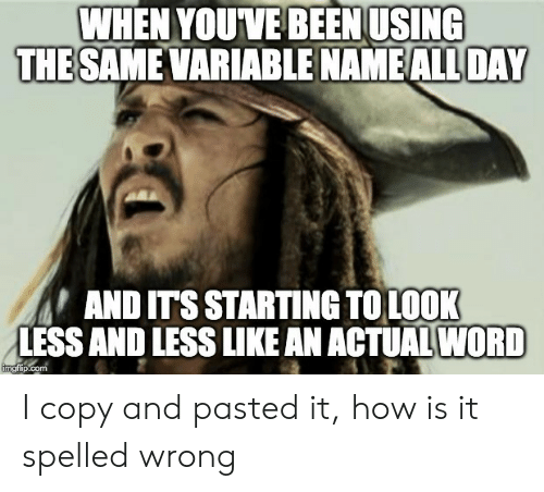 Like An: WHEN YOUVE BEEN USING  THE SAME VARIABLE NAME ALL DAY  AND ITS STARTING TOLOOK  LESS AND LESS LIKE AN ACTUAL WORD  imgflip.com I copy and pasted it, how is it spelled wrong