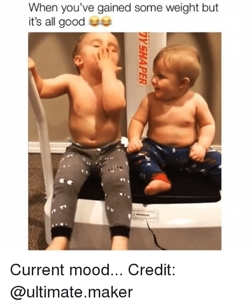 Memes, Mood, and Good: When you've gained some weight but  it's all good  S: Current mood... Credit: @ultimate.maker