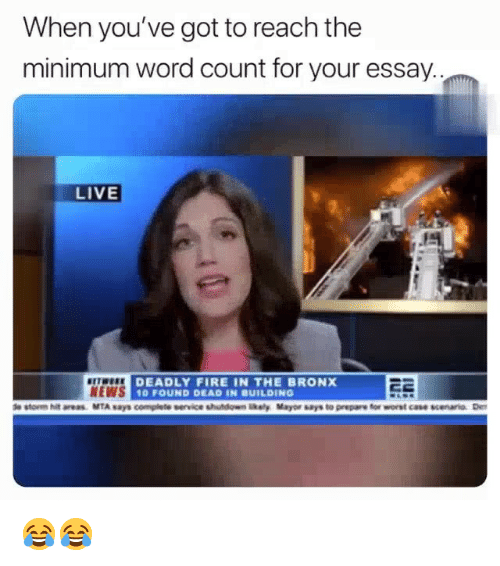 Bronx: When you've got to reach the  minimum word count for your essay.  LIVE  NEWS  DEADLY FIRE IN THE BRONX  0 FOUND DEAD IN BUILDING 😂😂