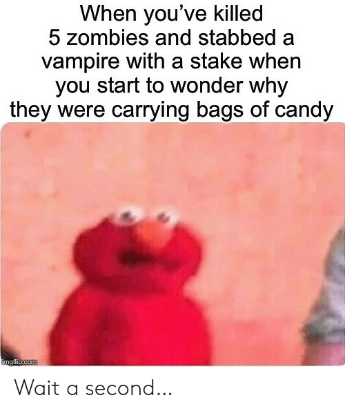 Candy, Zombies, and Wonder: When you've killed  5 zombies and stabbed  vampire with a stake when  you start to wonder why  they were carrying bags of candy  imgflip.com Wait a second…