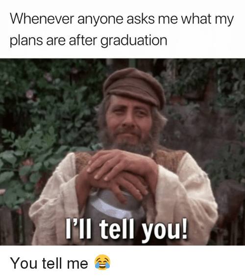 After Graduation: Whenever anyone asks me what my  plans are after graduation  Ill tell you You tell me 😂