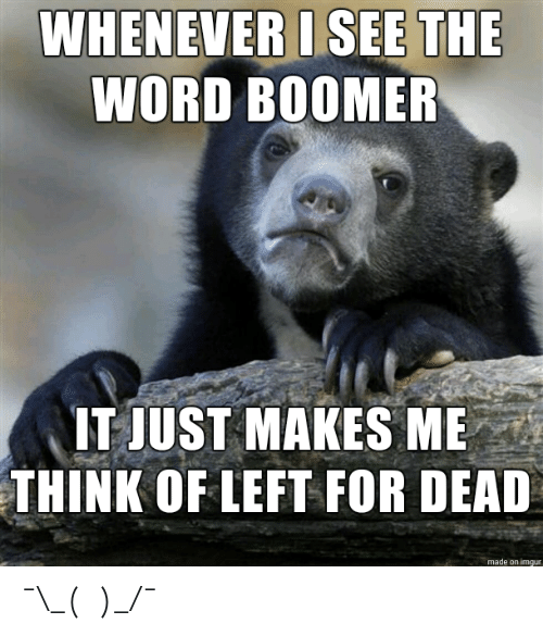 Imgur, Word, and Left for Dead: WHENEVER I SEE THE  WORD BOOMER  IT JUST MAKES ME  THINK OF LEFT FOR DEAD  made on imgur ¯\_(ツ)_/¯