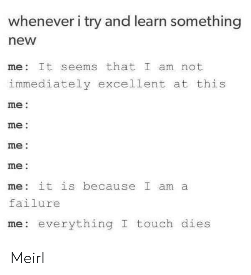 Failure, MeIRL, and Touch: whenever i try and learn something  new  me It seems that I am not  immediately excellent at this  me:  me:  me:  me:  me it is because I am a  failure  me: everything I touch dies Meirl
