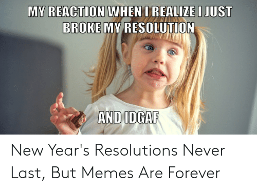 New Years Resolution Meme: WHENO REALIZEI JUST  MY REACTION  BROKE MY RESOLUTION  AND IDGAF New Year's Resolutions Never Last, But Memes Are Forever