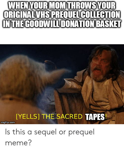 Meme, Mom, and Com: WHENYOUR MOM THROWSYOUR  ORIGINALVHS PREQUELCOLLECTION  INTHE GOODWILDONATION BASKET  [YELLS] THE SACRED TAPES  imgflip.com Is this a sequel or prequel meme?