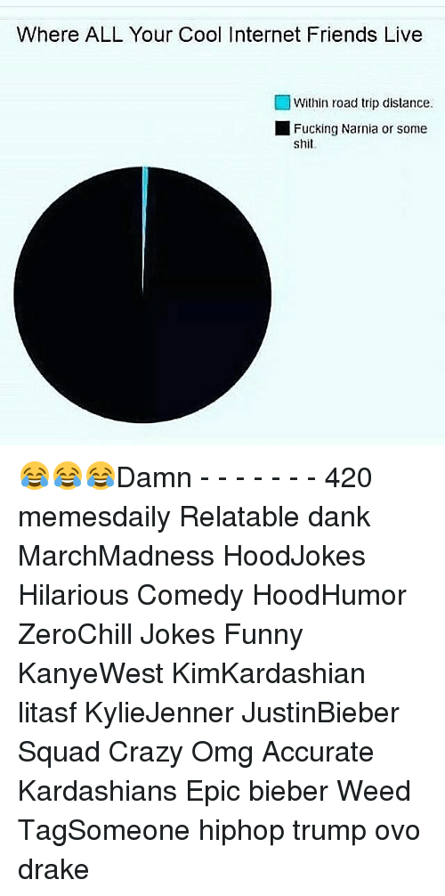 Shit Damn: Where ALL Your Cool Internet Friends Live  Within road trip distance.  Fucking Narnia or some  Shit. 😂😂😂Damn - - - - - - - 420 memesdaily Relatable dank MarchMadness HoodJokes Hilarious Comedy HoodHumor ZeroChill Jokes Funny KanyeWest KimKardashian litasf KylieJenner JustinBieber Squad Crazy Omg Accurate Kardashians Epic bieber Weed TagSomeone hiphop trump ovo drake